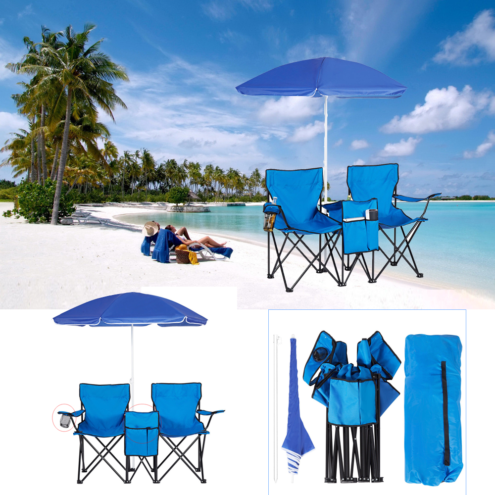 Double Folding Chair w/ Umbrella and Table Cooler Fold Up Beach C&ing Chair  sc 1 st  eBay & Double Folding Chair w/ Umbrella and Table Cooler Fold Up Beach ...