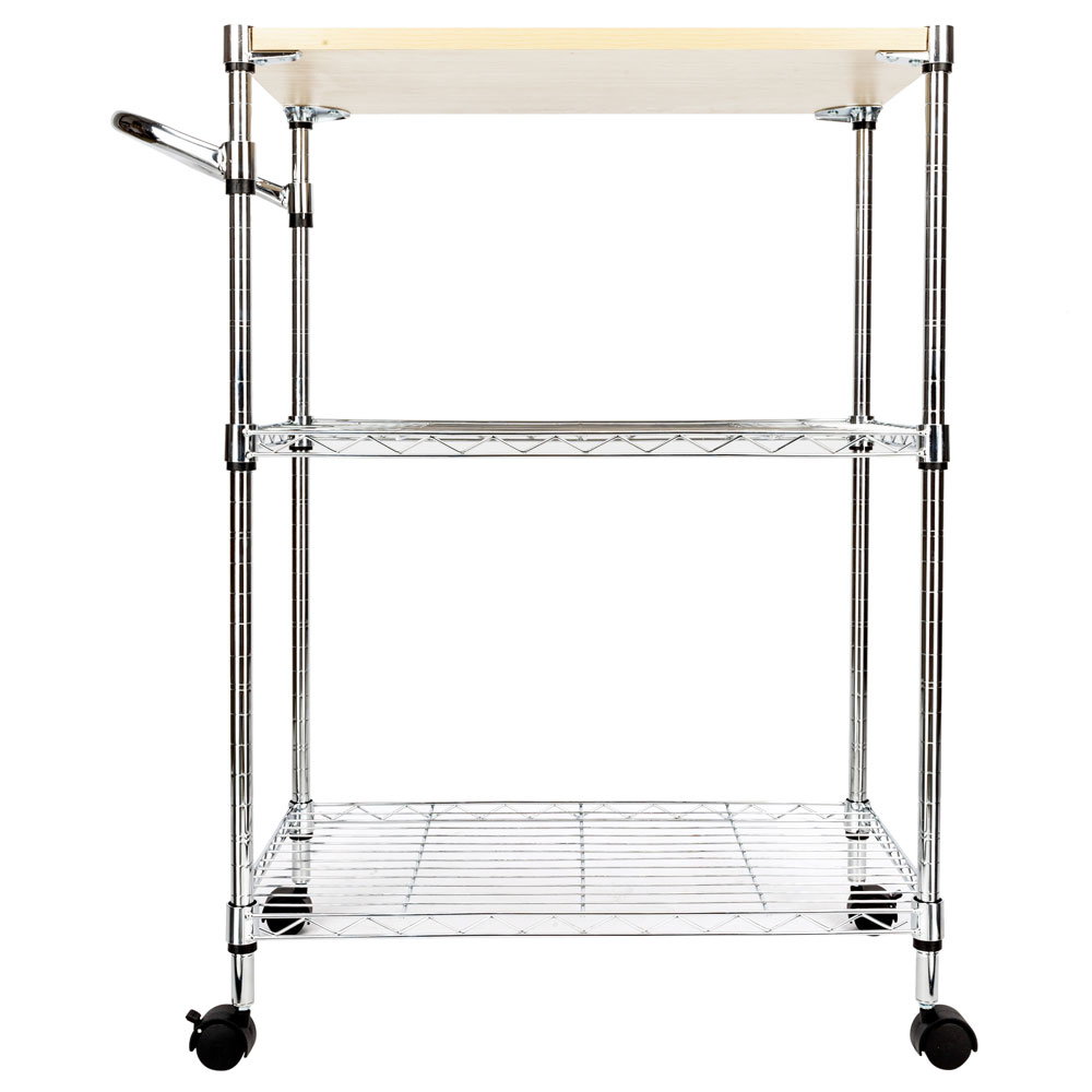 New Chrome 3 Tier Kitchen Cart Trolley Wire Rolling Utility Storage Rack  Food