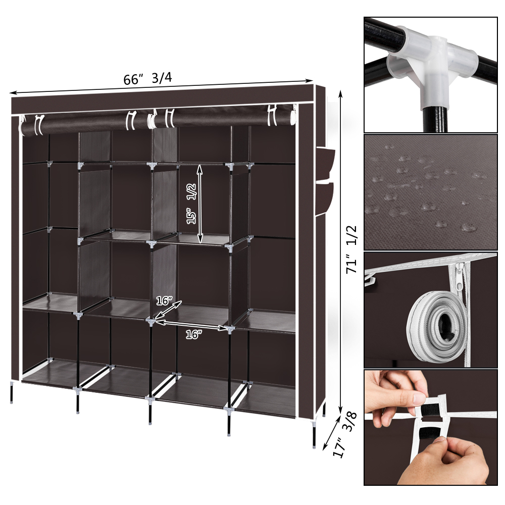 2 hanging clothes rack organizer closet armoire durable storage wardrobe brown