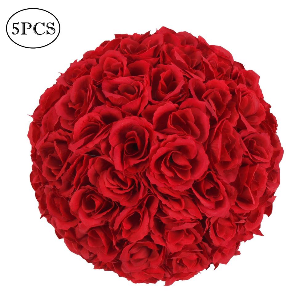 5pcs 25cm Satin Flower Balls Home Holiday Wedding Decoration Wine